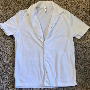 AMERICAN APPAREL White Terry Cloth Button Up Tee